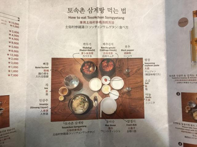 参鶏湯の食べ方